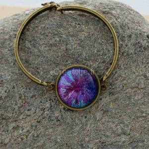 Bracelet de couleur bronze avec belle décoration de 3 couleurs
