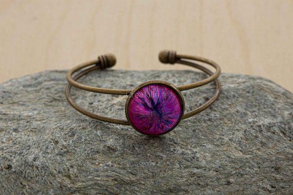 Bracelet métal à 2 branches bronze avec belle incrustation d'un mélange de 3 couleurs